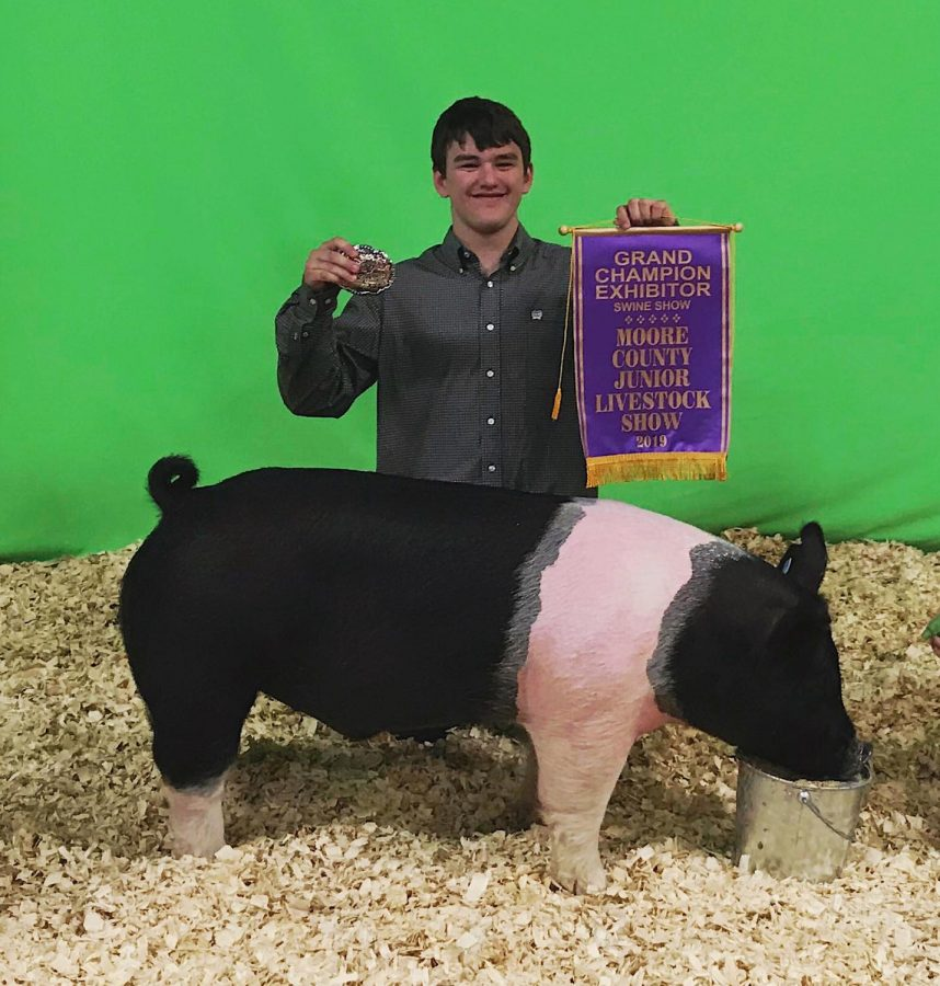 Caleb Stovall pictured after winning Grand Champion.