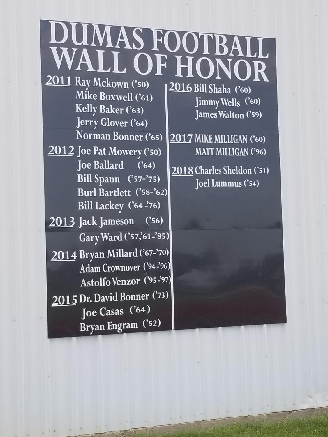 Wall of honor at DHS Demon Dome